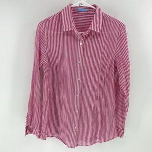 J McLaughlin Button Down Shirt Blouse Top Striped